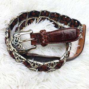 Brighton 1996 XL Silver Link Braided Leather Belt